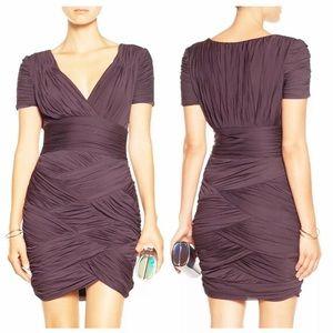 Halston Herritage Ruched Deep Purple Mini Dress.